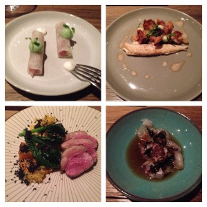Ramenasrolletje met tonijn, Tong met peterseliewortel, Runds op bbq met pompoen met kai-lan en Sashimi van roodbaars met jus op basis van zwarte thee